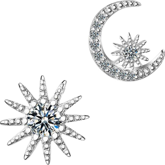 Серьги Ice&High, латунный сплав, серебро, кристаллы swarovski, ZS888835