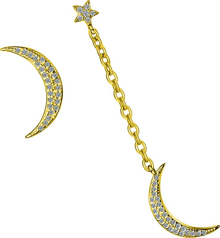 Серьги Ice&High, латунный сплав, золото, кристаллы swarovski, ZS888842G