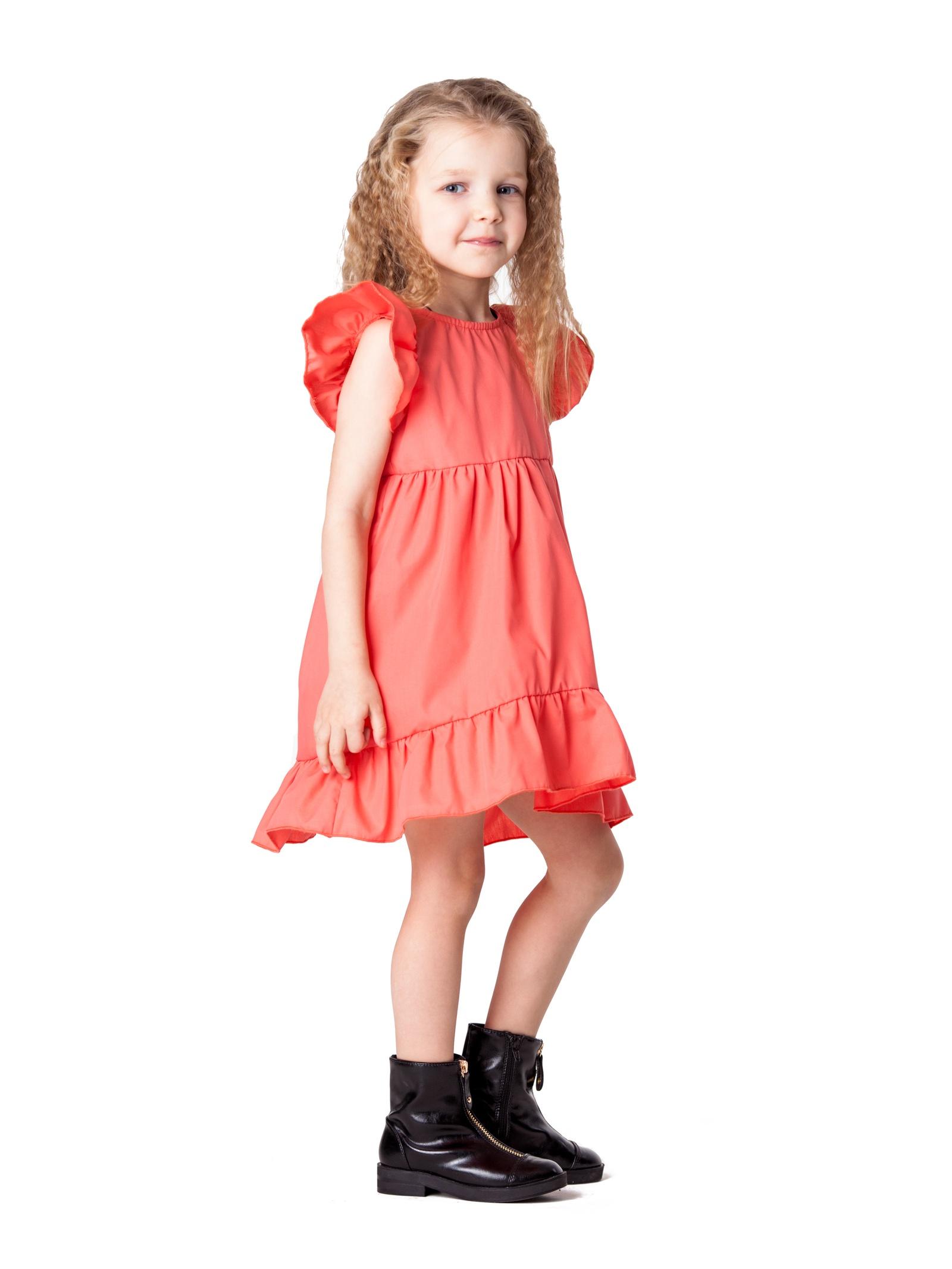 Платье ARCHYLAND 840Т_116_коралл, коралловый 116 размер840Т_116_кораллПлатье для девочкиТкань-аякс (40%пэ, 60%хлопок)