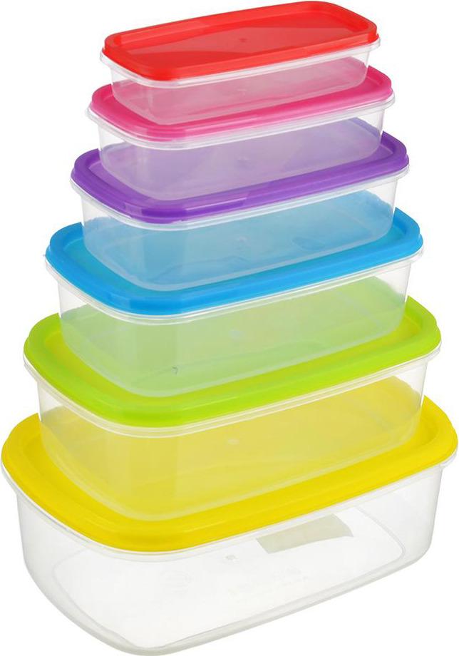 Набор контейнеров для продуктов N/N, 861233, разноцветный, 6 шт