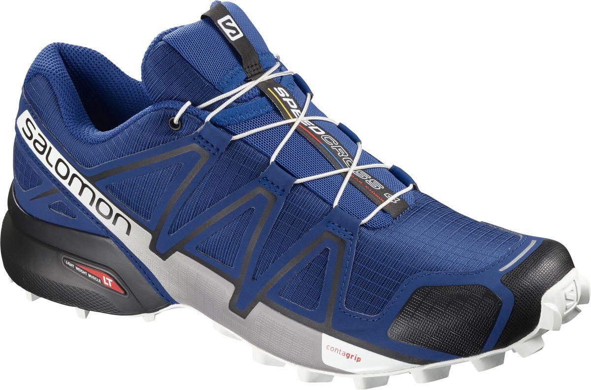 Кроссовки мужские Salomon Speedcross 4, цвет: синий. L40464100. Размер 10 (43)L40464100Четвертое поколение легендарных беговых кроссовок воплощает новые понятия об элегантности. Легкие, амортизированные и агрессивно цепляющиеся за мягкую землю SPEEDCROSS 4 подарят вам еще больше удовольствия. Легендарная обувь для быстрого движения и отличного сцепления. Агрессивное сцепление Четвертое поколение наших легендарных кроссовок Speedcross имеет такую геометрию канавок, которая, как голодный монстр, вгрызается в мягкую почву тропы. Точная фиксация стопы Почувствуйте точную фиксацию стопы благодаря четкой комбинации технологии SensiFit™ с конструкцией Quicklace™ и endoFit. Легкая защита В самый раз для сложно пересеченной местности.