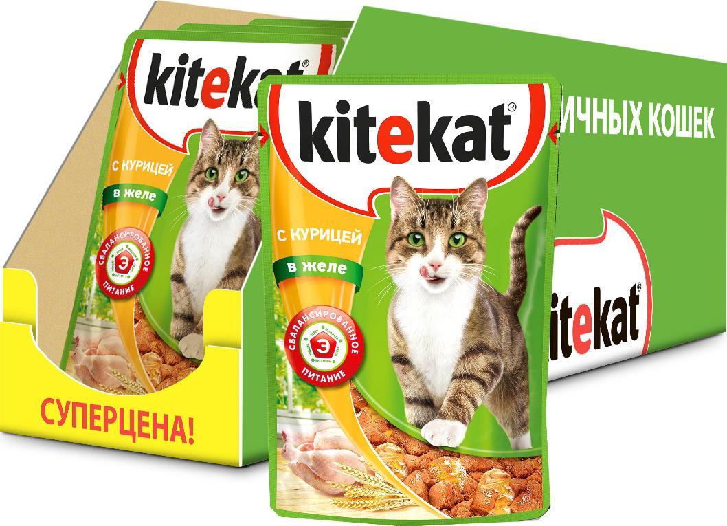 """Консервы """"Kitekat"""", для взрослых кошек, курица в соусе, 85 г х 28 шт"""