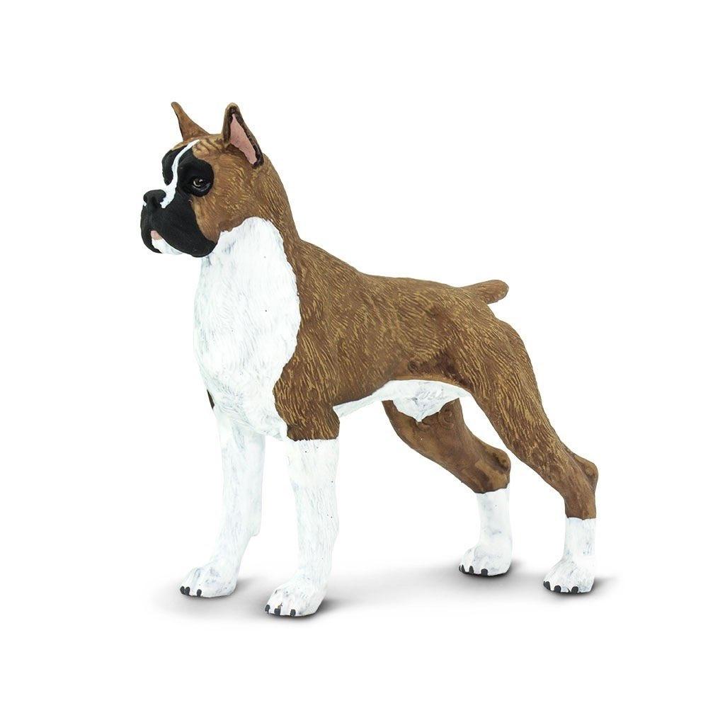 """Фигурка Safari Ltd Боксер, 100062 коричневый100062Сильвестр Сталлоне, Робби Уильямс и даже Пикассо - звездные счастливчики, которым довелось стать хозяевами собаки породы боксер. Такие псы и сами - звезды. У них яркая мимика, поэтому боксеров часто выбирают фотографы для съемок собак.Боксера называют не просто другом человека, а верным товарищем семьи. В отличии от собратьев, представители этой породы способны признавать хозяевами несколько человек. Еще одна """"универсальность"""" - группа крови, подходящая для переливания собакам любой породы.Фигурка боксера Safаri Ltd будет пусть и игрушечным, но любимым другом для ребенка. Благодаря небольшому размеру (80 мм) ее удобно взять в дорогу или на прогулку. Как и реальный прототип, фигурка """"вынослива"""": цельный корпус и качественная прокраска позволяют смело играть и в воде, и в песке, и...где бы ни придумал ребенок.Создатели модели Safаri Ltd позаботились, чтобы внешний вид соответствовал стандарту породы немецкий боксер. Если ребенок всерьез интересуется собаками или вы хотите привить это увлечение, фигурка поможет составить верное представление о породе. Это - поджарый корпус, рыжий с белым окрас, сильные ноги, глубоко посаженные глаза. Научное название: Canis lupus familiaris.О бренде: фигурки Safаri выполнены с непревзойденной точностью и раскрашены вручную. При их производстве используются лучшие современные материалы, которые соответствуют самым строгим мировым стандартам безопасности. Они доставят удовольствие не только маленьким натуралистам, но и коллекционер..."""