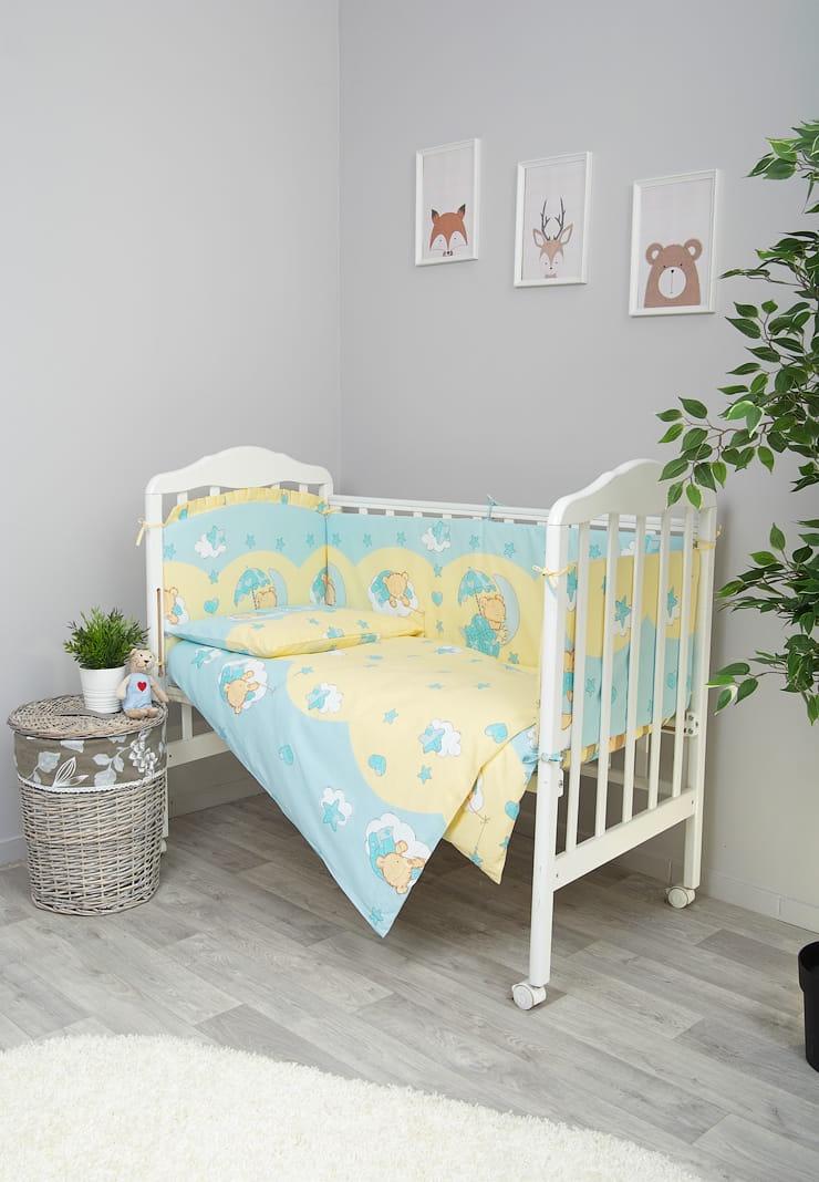 Фото - Комплект белья для новорожденных Сонный гномик Мишкин сон, 603_1, голубой комплект белья для новорожденных сонный гномик жирафик бежевый белый
