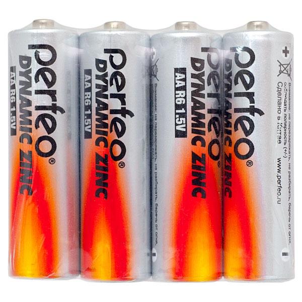 Батарейка Perfeo Солевая, PF R6/4SH батарейка perfeo r6 4sh dynamic zinc 4 штуки