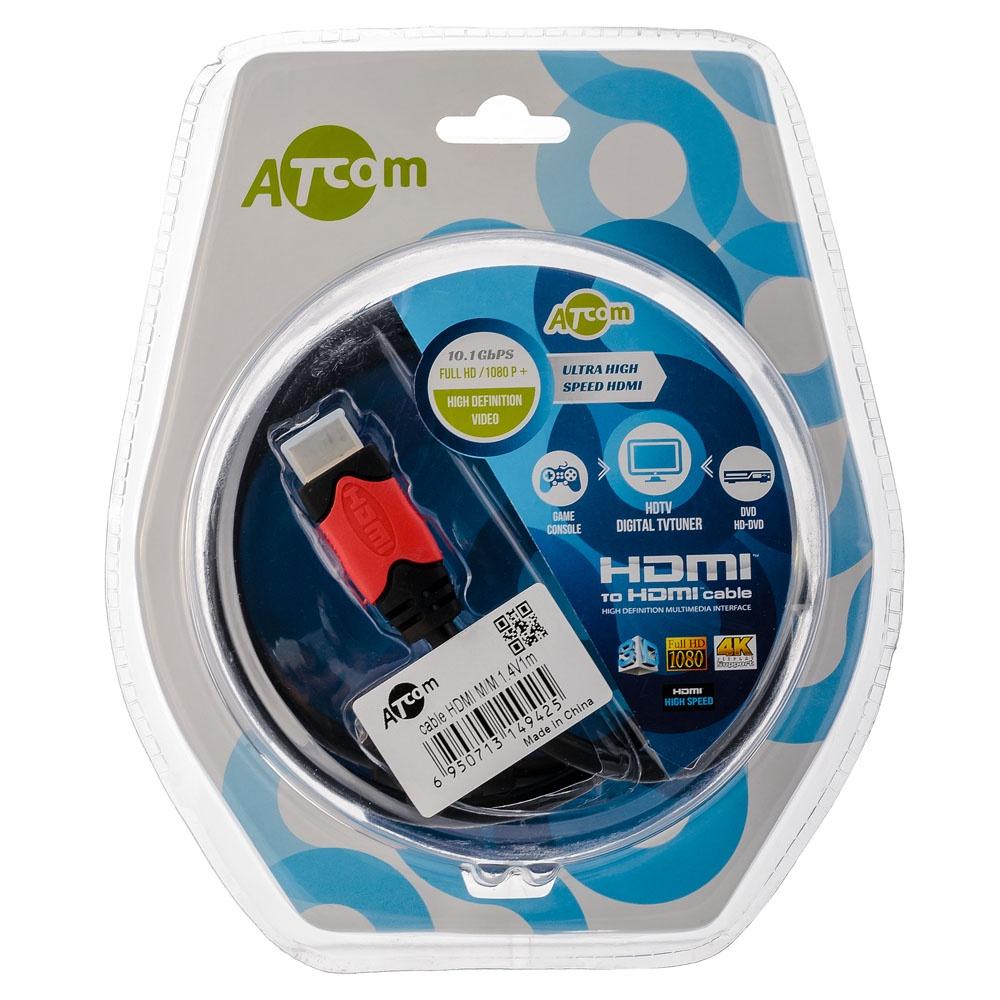 Кабель ATcom HDMI 1м, версия 1.4, блистер, AT4942 kaiboer kbeh l 1 м серебристый корпус 2 0 версия hdmi поддержка высокой четкости поддержка 3d плеер игрока игровая приставка тв проекционный кабель