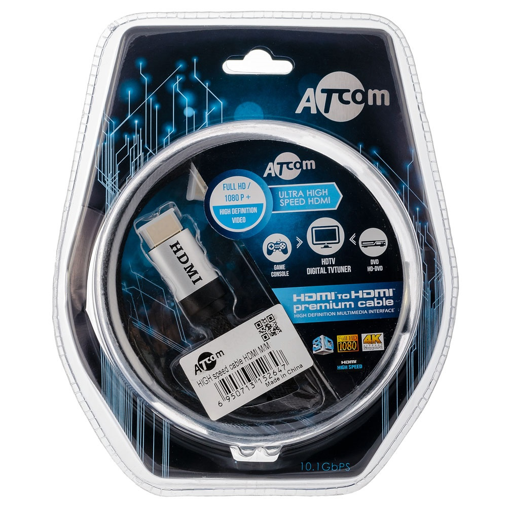 Кабель Atcom HDMI 1 m, HIGH speed, версия 2.0,оплетка, блистер, AT5264