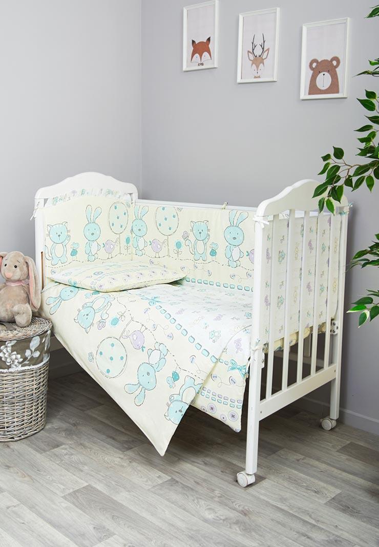 Комплект белья для новорожденных Сонный гномик Акварель, 606_3, бирюзовый одеяло vikalex бязь холлофайбер 110х140 серый с бантиками vi21104