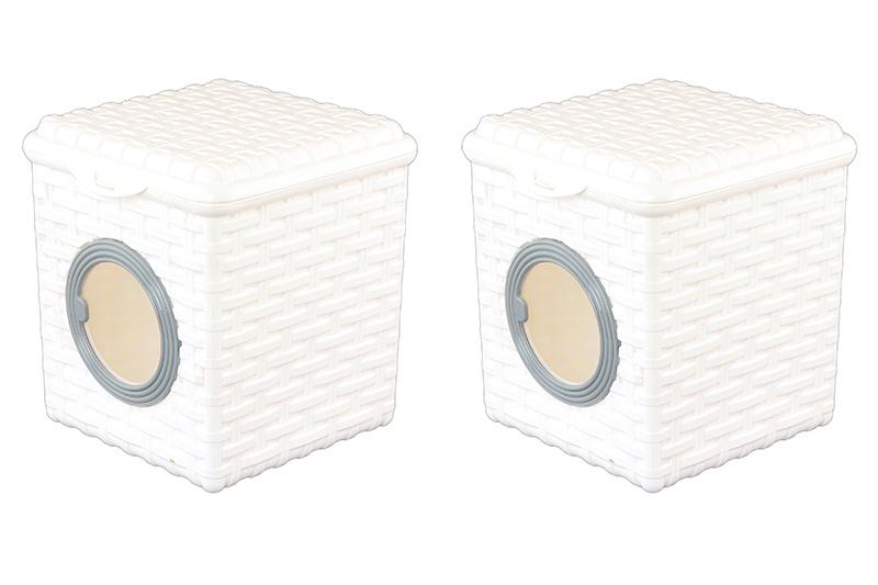Контейнер для хранения вещей Violet Ротанг, 2 штуки, 810517_2, белый контейнер для мелочей violet ротанг