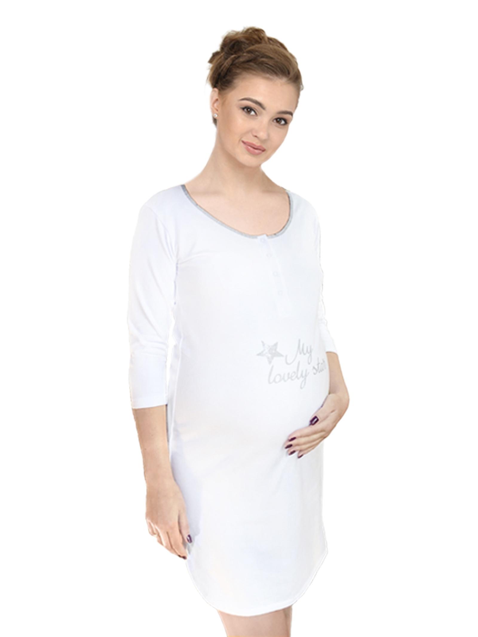 8671443b0004 Уютная ночная сорочка, утеплена микрофлисом. Рукав 3/4. Предназначена для  беременных и кормящих женщин. 1253 РУБ