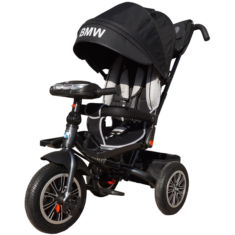 """Велосипед BMW BMW5-M-N1210-BLACK, черный264584Велосипед трехколесный с функцией """"смотрю на маму/смотрю на дорогу"""", с ручкой управления лицензионный;- светомузыкальная панель со световыми и звуковыми эффектами;- металлическая рама;- складная рулевая стойка, позволяющая максимально отклонить спинку су сиденья в положении """"смотрю на маму"""";- диск колеса BMW из пластика, надувные шины из резины;- функция «свободное колесо»;- диаметр переднего колеса - 30 см (12""""); - диаметр задних колес - 25 см (10"""");- двойная ручка - толкатель с сумочкой для мелочей;- складные подставки для ног;- дополнительные съемные подставки для ног;- складной тент колясочного типа, съемный, с козырьком;- эргономичное сиденье с высокой спинкой """"комфорт"""" с мягкими бортами;- несколько положений спинки;- поворот сиденья 360 градусов;- мягкий вкладыш - """"кенгуру"""" на сидении; - раздвижная дуга безопасности с мягкими подлокотниками;- ремни безопасности;- большая - багажная корзина;- ножной тормоз."""