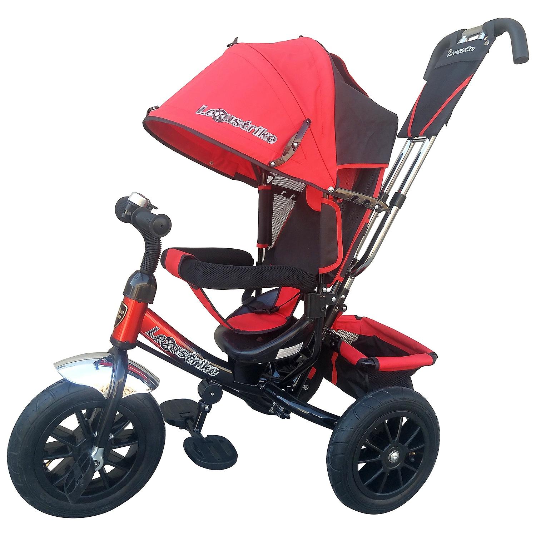 """Велосипед Lexus Trike 264600, 264600, красный264600Велосипед трехколесный с ручкой управления. Технические характеристики:- металлическая рама;- диск колеса из пластика, надувные шины из резины;- функция «свободное колесо»;- диаметр переднего колеса - 30 см (12""""); - диаметр задних колес - 25 см (10"""")(10"""");- двойная телескопическая ручка толкатель с сумочкой для мелочей;- звонок на руле;- складные подставки для ног с фактурным рисунком; - складной тент колясочного типа с фиксаторами положения;- эргономичное сиденье с высокой спинкой и подголовником;- три положения спинки;- мягкий вкладыш - """"кенгуру"""" на сидении;- раздвижная дуга безопасности с мягкими подлокотниками;- ремень безопасности;- багажная корзина;- ножной тормоз."""