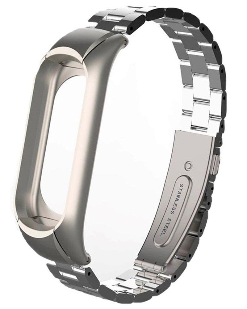 Ремешок для смарт-часов Roxmi Ремешок металлический для фитнес трекера Xiaomi Mi Band 3 серебряный, BMiB3M Silver, серебристый цена и фото
