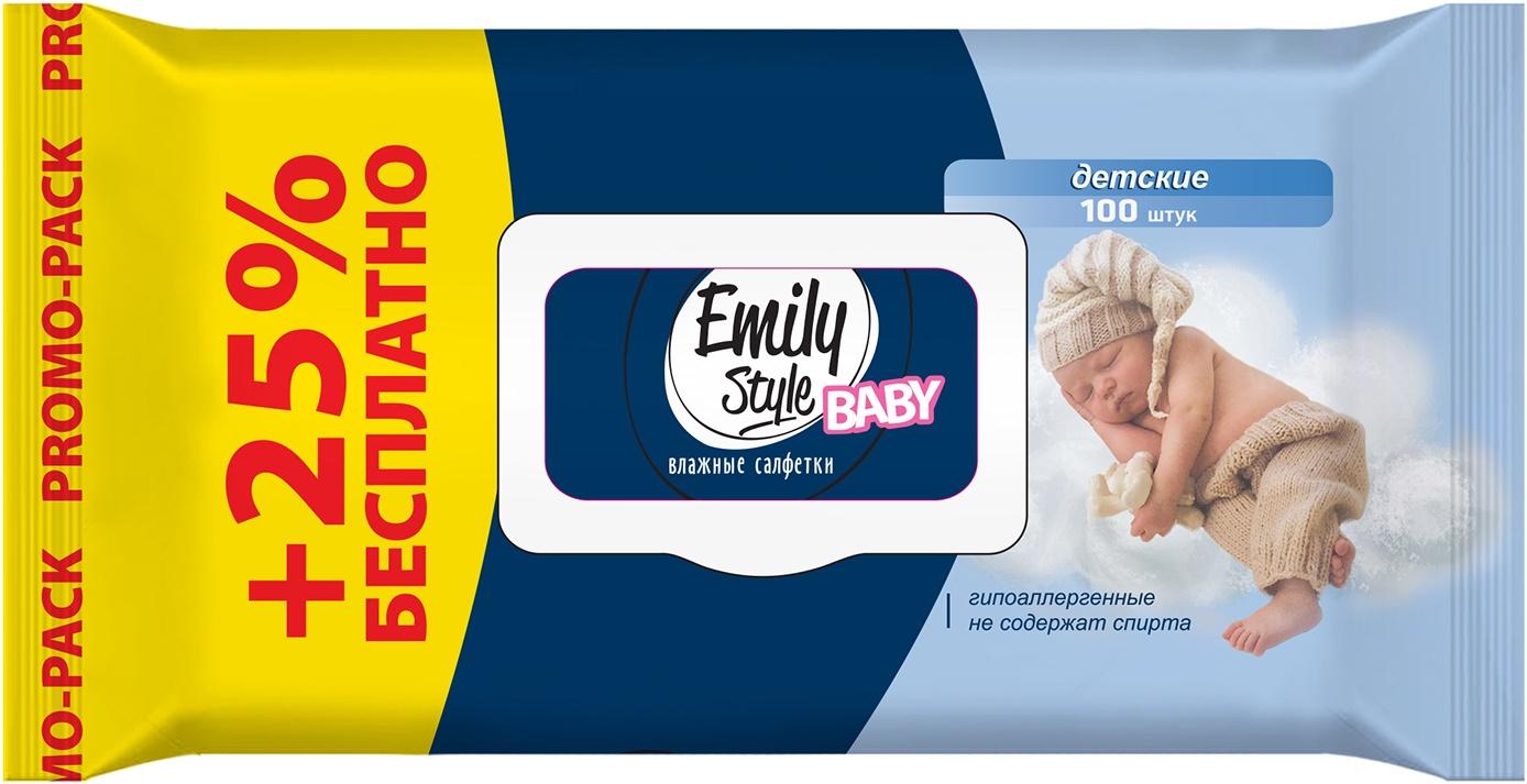 Влажные салфетки Emily Style Детские, упаковка с крышкой , с рождения, гипоаллергенные, 100 шт салфетки детские влажные ponky с крышкой 8690239034604 70 шт