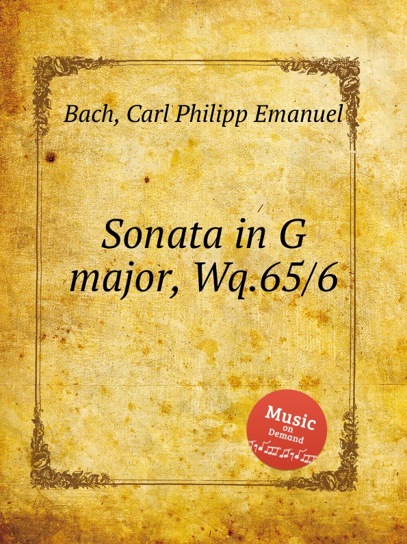 Cal P. E. Bach Sonata in G major, Wq.65/6 cal p e bach sonata in a major wq 65 32