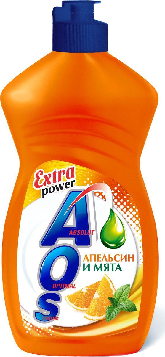 Средство для мытья посуды AOS Апельсин и мята, 1108-3, 450 мл средство для мытья посуды aos 450 мл бальзам 2в1 в ассорт