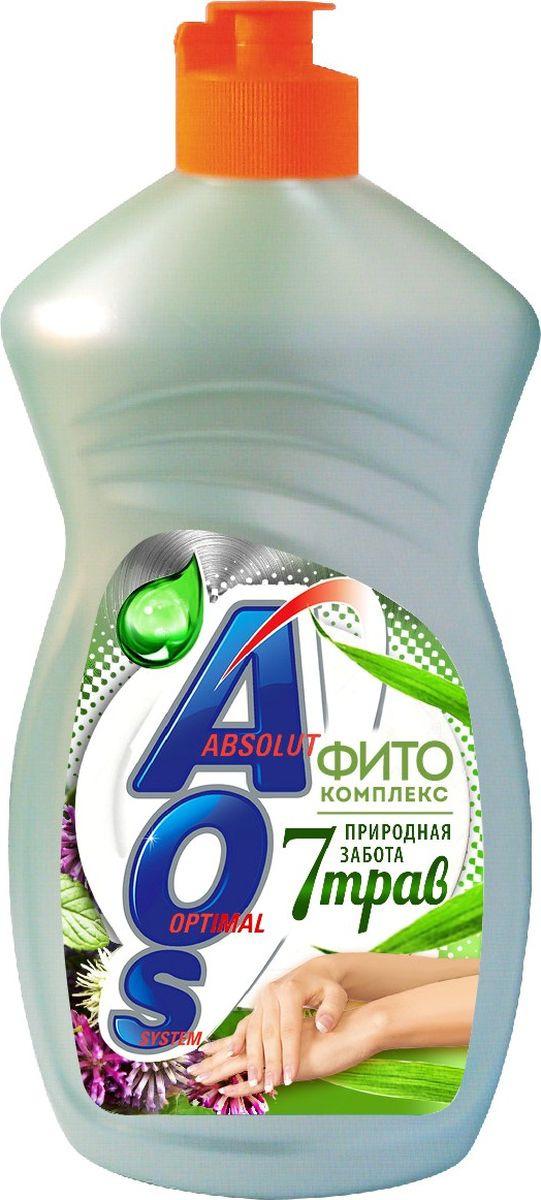 Средство для мытья посуды AOS Фитокомплекс 7 трав, 1122-3, 450 мл средство для мытья посуды aos 450 мл бальзам 2в1 в ассорт