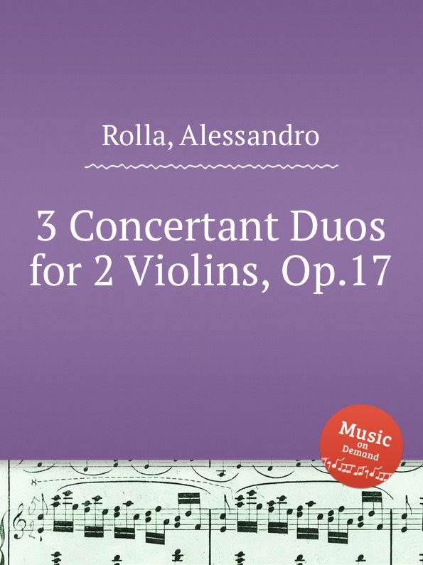 A. Rolla 3 Concertant Duos for 2 Violins, Op.17 холст 30x60 printio twilight sparkle color line