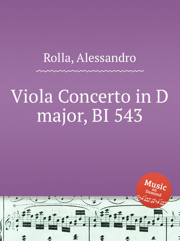 A. Rolla Viola Concerto in D major, BI 543 a rolla viola concerto in e flat major bi 545