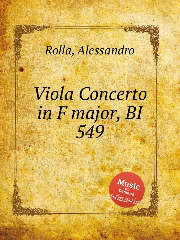 A. Rolla Viola Concerto in F major, BI 549 a rolla viola concerto in e flat major bi 545