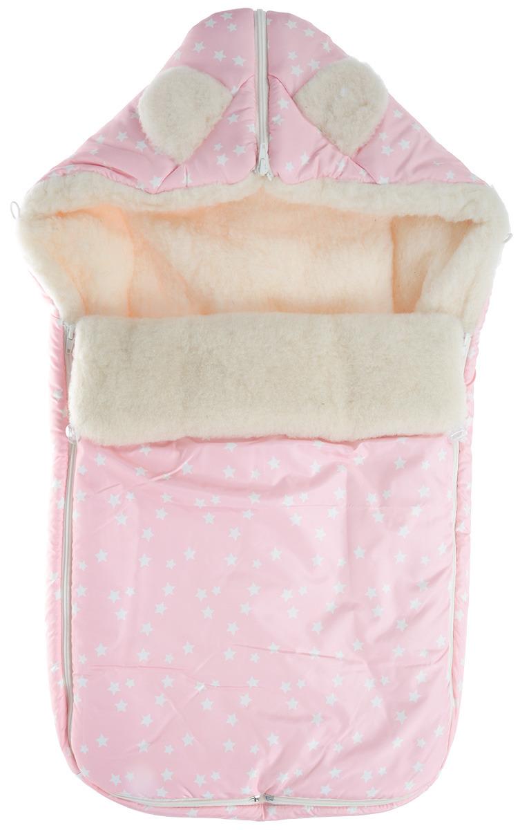 Конверт для прогулок для девочки Leader Kids Звезды, цвет: розовый. 17500309. Размер универсальный цена