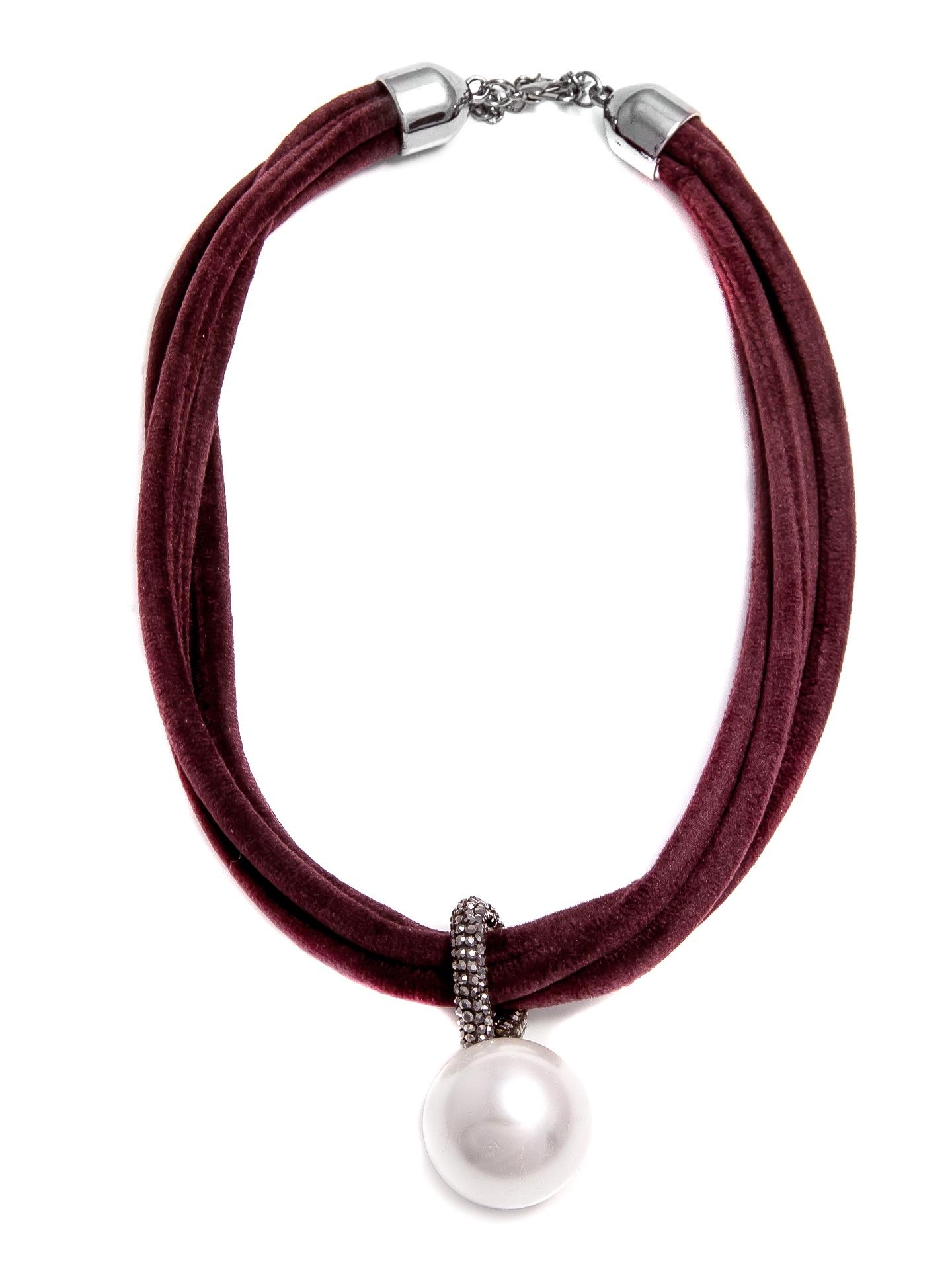 Колье/ожерелье бижутерное Aiyony Macie KOL901021, NC901021, бордовый, белый, серыйNC901021Размер 58 см * 1,5 см Состав: стразы, сплав на основе латуни, акрил, текстиль