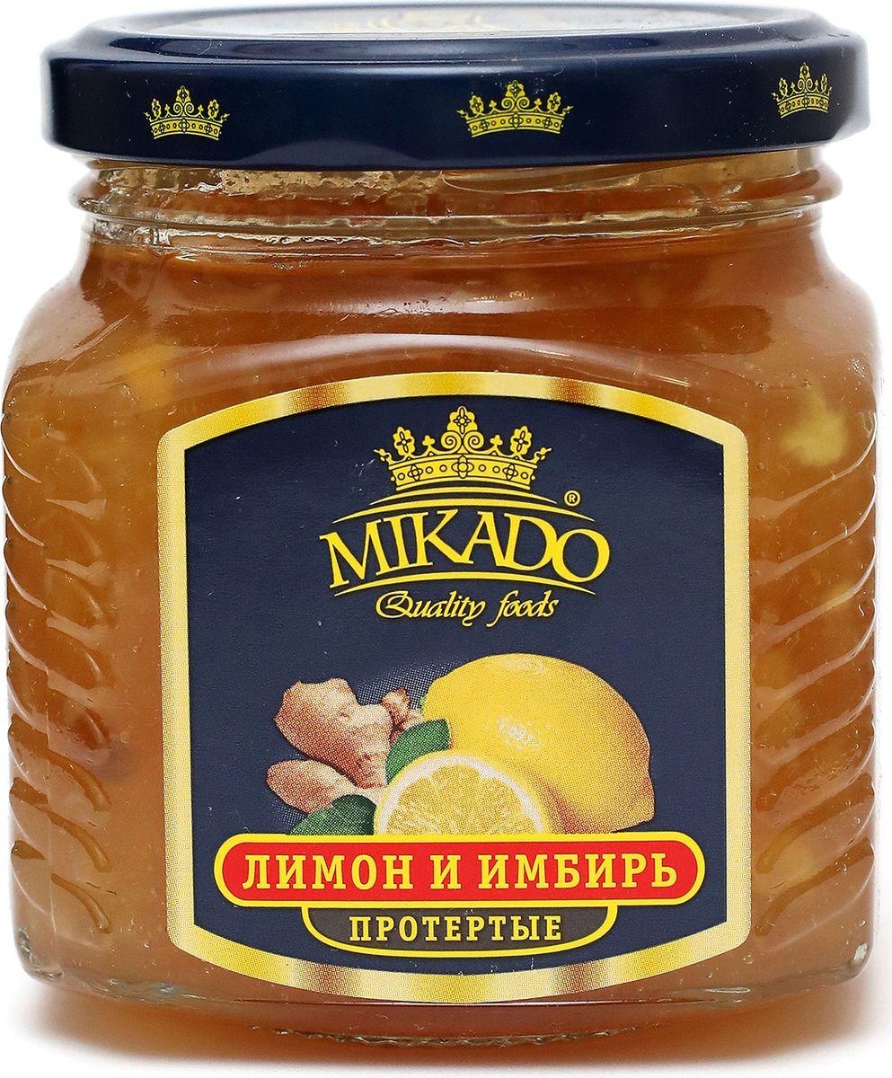 Ягоды перетертые Mikado Лимон и имбирь с сахаром, 320 г черника экопродукт с сахаром 320 г