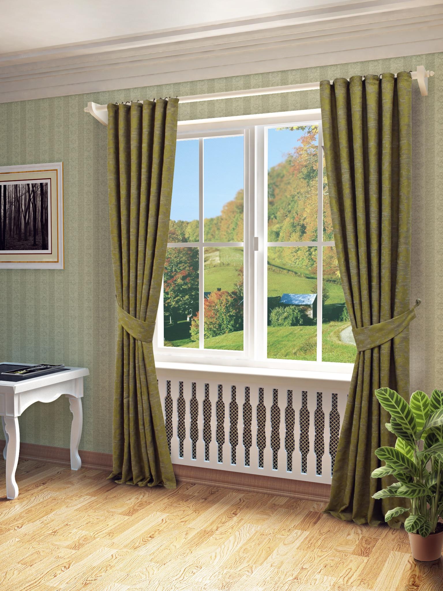 Фото - Штора Sanpa Home Collection КШВЭНДИ, зеленый, , 150*260, КШВЭНДИ, зеленый, , 150*260-2шт+подхваты, зеленый ёлка цвет зеленый 150 см