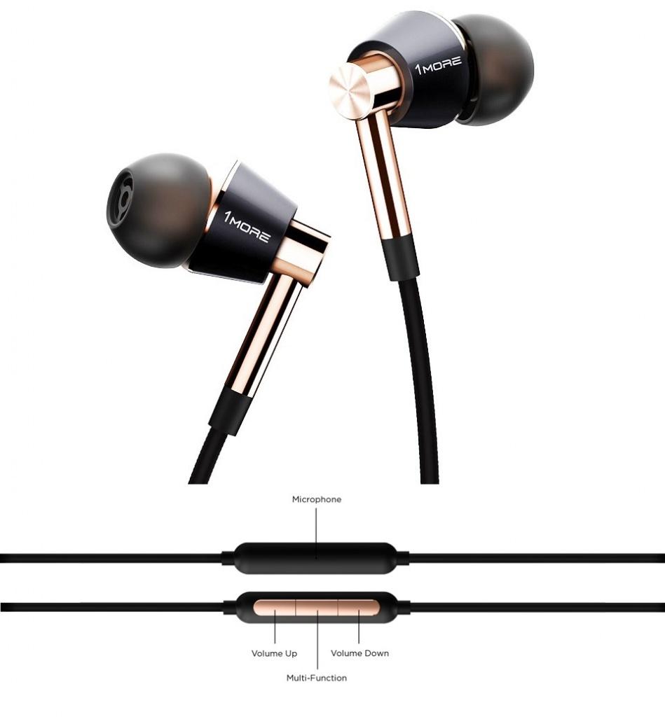 лучшая цена Наушники 1More E1001L Triple Driver LTNG In-Ear Headphones, Gold