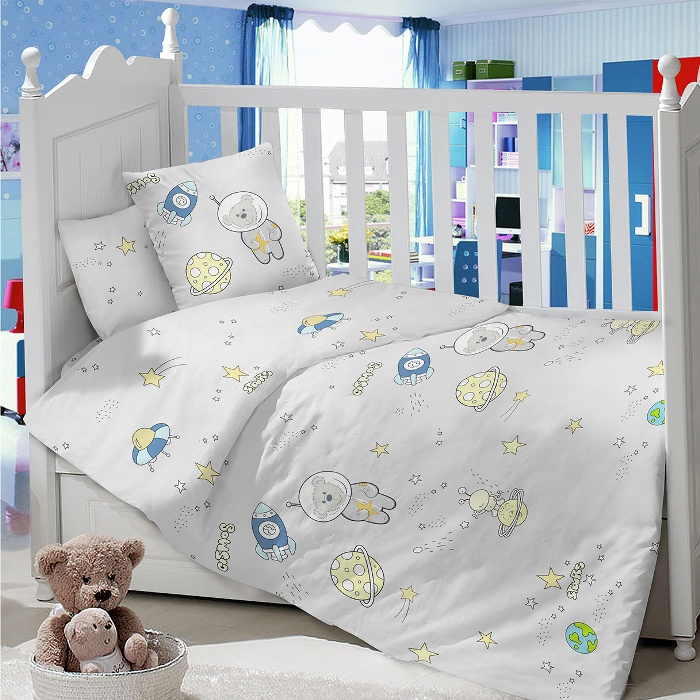 Комплект в кроватку LIMETIME Комплект в кроватку, простыня на резинке, LT1000-78, серый
