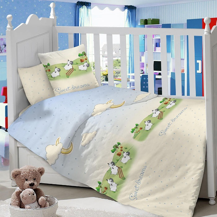 Комплект в кроватку LIMETIME Комплект в кроватку, простыня классическая, LT1100-64, голубой