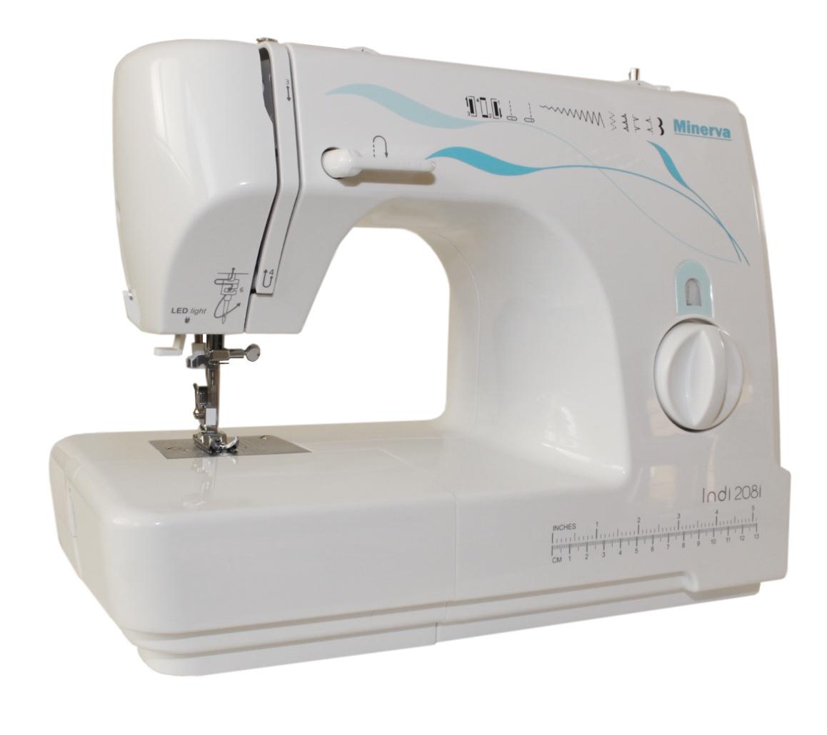 Швейная машина Minerva Indi 208i, белый, голубой