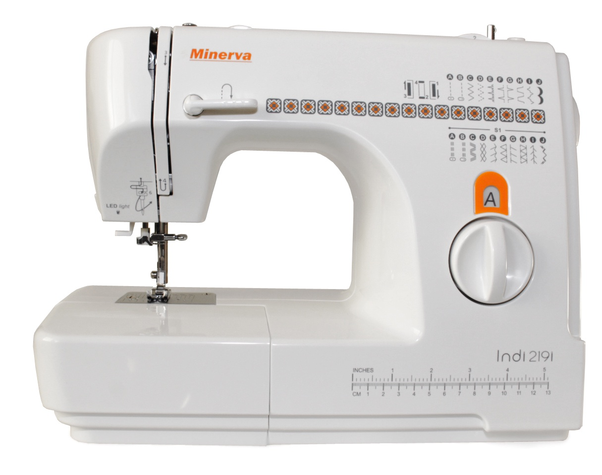 Швейная машина Minerva Indi 219i, белый, оранжевый