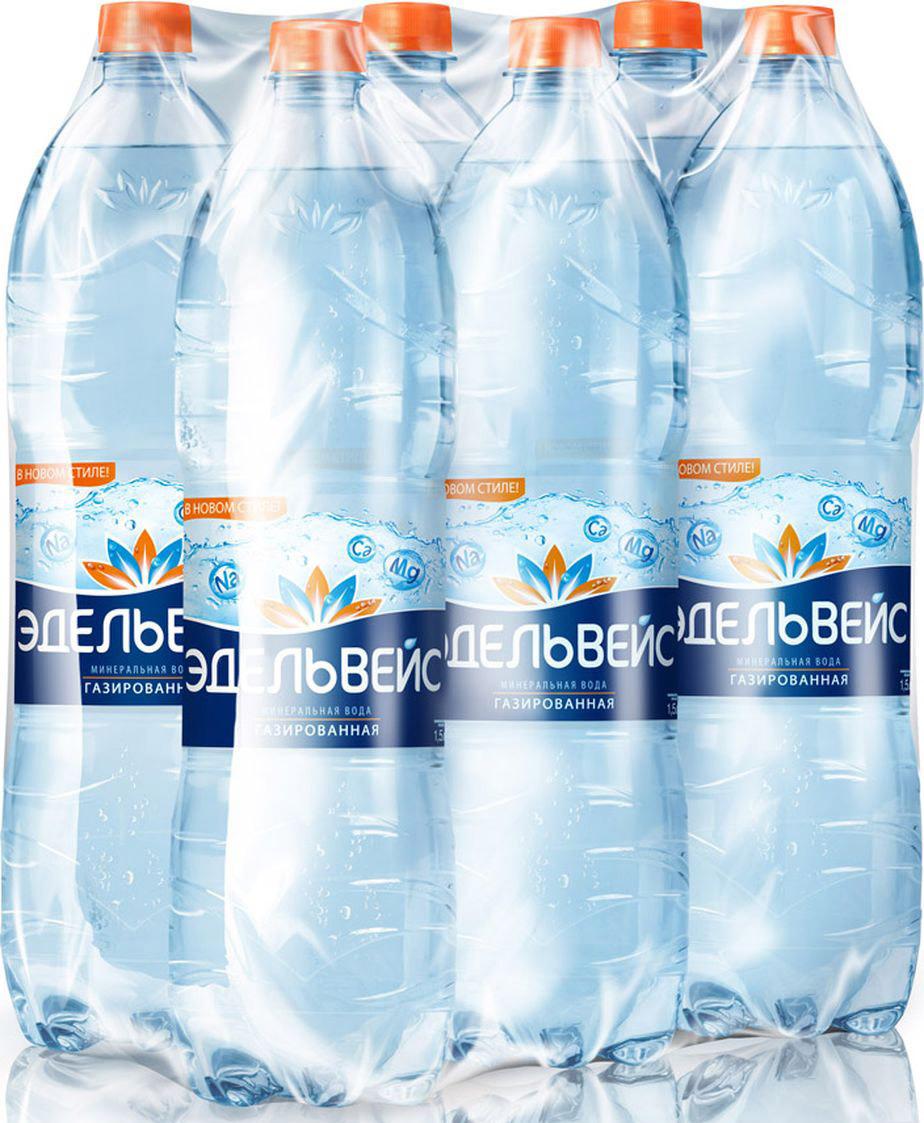 Вода Эдельвейс минеральная газированная, 6 шт по 1,5 л
