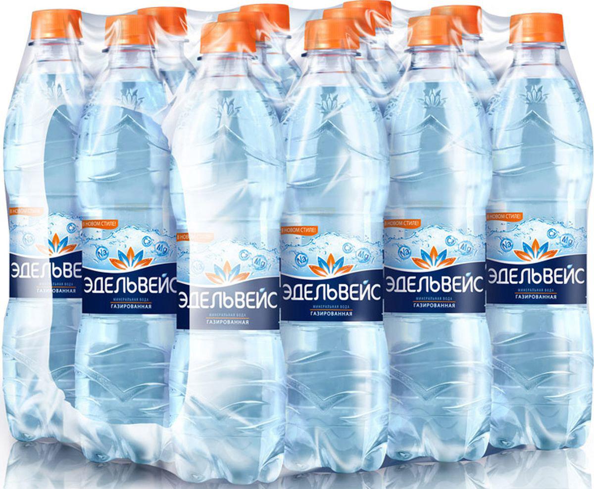 Вода Эдельвейс минеральная газированная, 12 шт по 500 мл