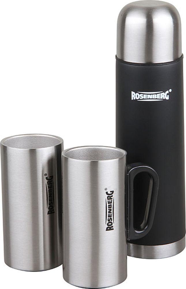 Термос Rosenberg RSS-420104, 2 термокружки, серебристый, черный, 500 мл цены