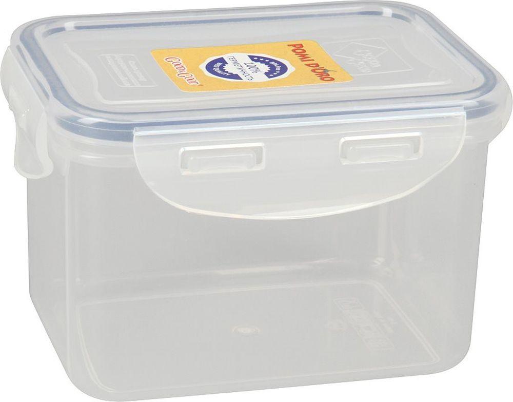 Контейнер пищевой Pomi d'Oro RUS-575021, прозрачный, 700 мл контейнер пищевой вакуумный bekker квадратный 330 мл