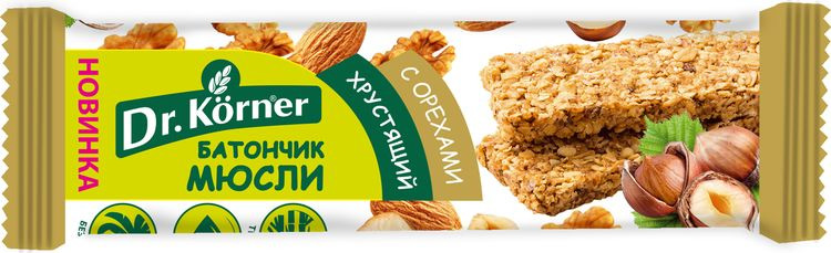 Батончик-мюсли Dr.Korner, с орехами, 35 г5310099017076Полезная альтернатива шоколадным батончикам, сладостям и печенью, а также вкусный и удобный перекус в любое время и в любом месте! Рекомендуем!