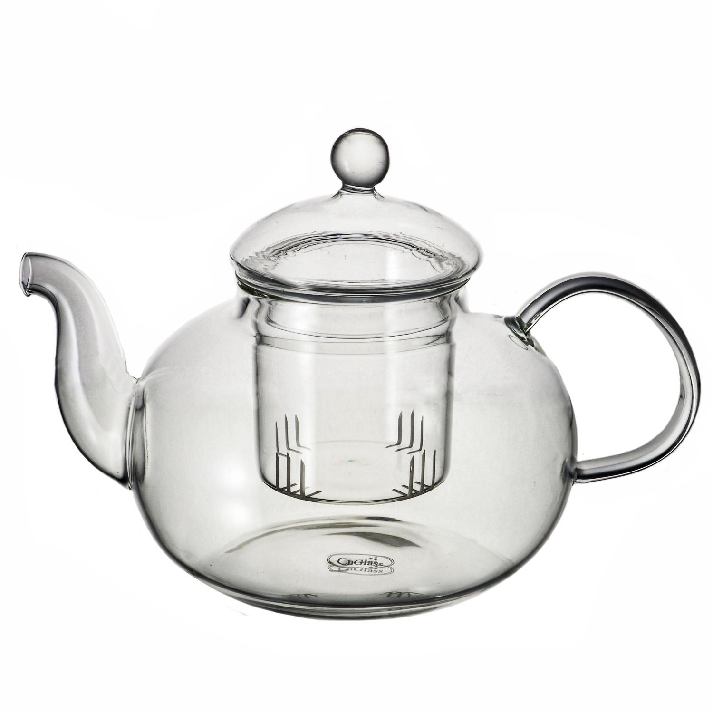 Чайник заварочный CnGlass стеклянный Смородина с колбой, 1200 мл, Стекло стеклянный заварочный чайник смородина без заварочной колбы 1500 мл уцененный товар