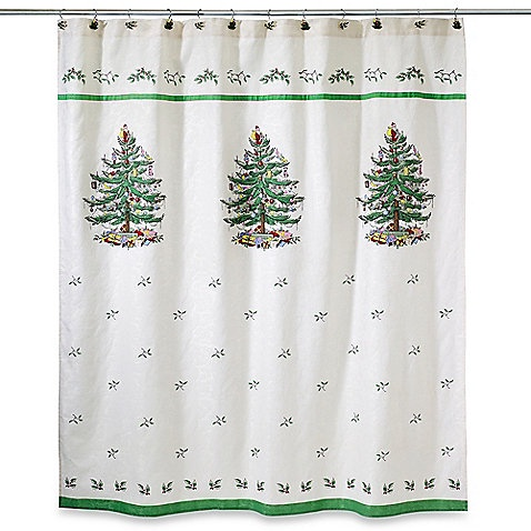 Штора для ванной Avanti Spode Christmas Tree, белый, зеленый штора для ванной avanti antigua 183 183 см
