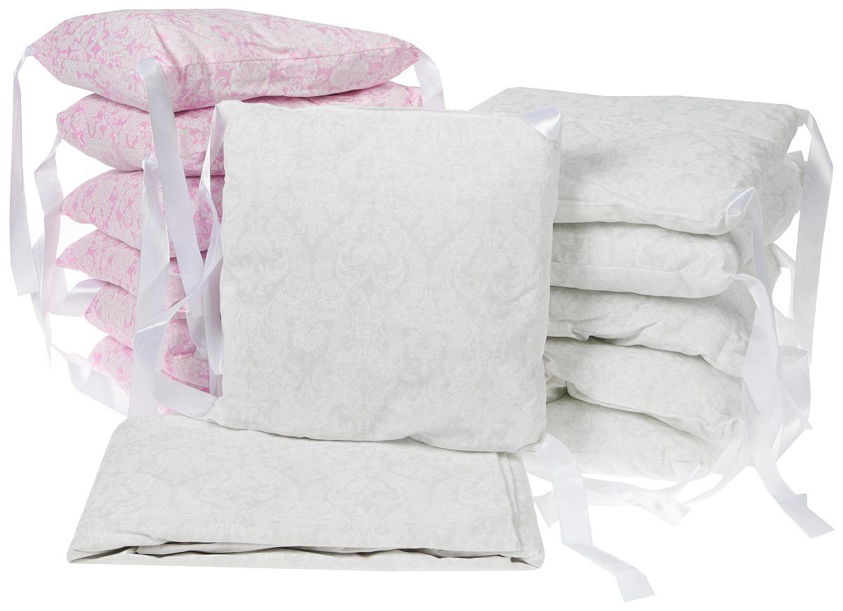 Комплект в овальную кроватку Sweet Baby Aria, 419057, розовый, белый, 5 предметов комплекты в кроватку makkaroni kids sweet baby 125x65 6 предметов