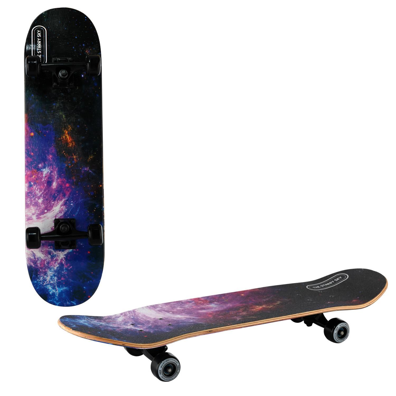 Скейтборд RGX MG DBL 464, MG DBL 464, черный, фиолетовый скейтборд 8 колес