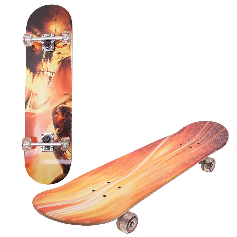 Скейтборд RGX LG-DBL45, оранжевый, красный