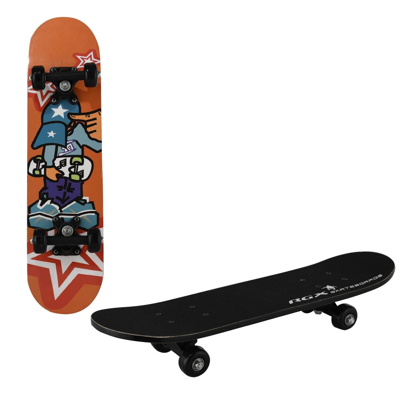 Скейтборд RGX MIDI 7, MIDI 7, черный, оранжевый скейтборд 8 колес