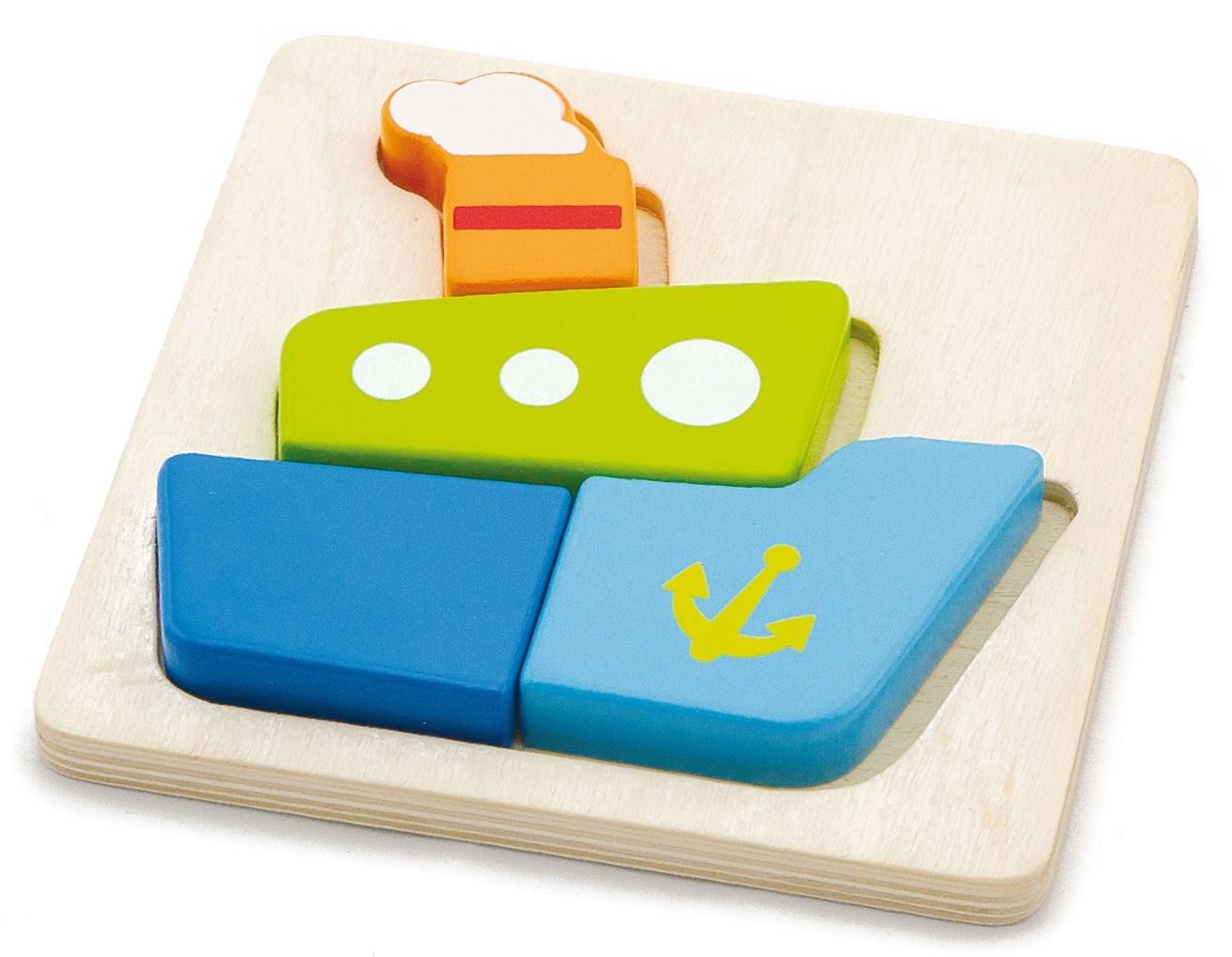 Пазл для малышей Viga Вкладыш Кораблик деревянный, 1693816938Деревянный пазл Кораблик разработан специально для малышей. Он состоит из 4 деталей. Пароход можно собирать внутри специальной рамки или на любой плоской поверхности. Сборка внутри рамки проще для ребенка - легче подобрать для детали свое место и детали не разъезжаются в процессе сборки.Игра с таким пазлом тренирует пространственное мышление и мелкую моторику рук малыша.Упакована игра в картонную коробку с окошком.