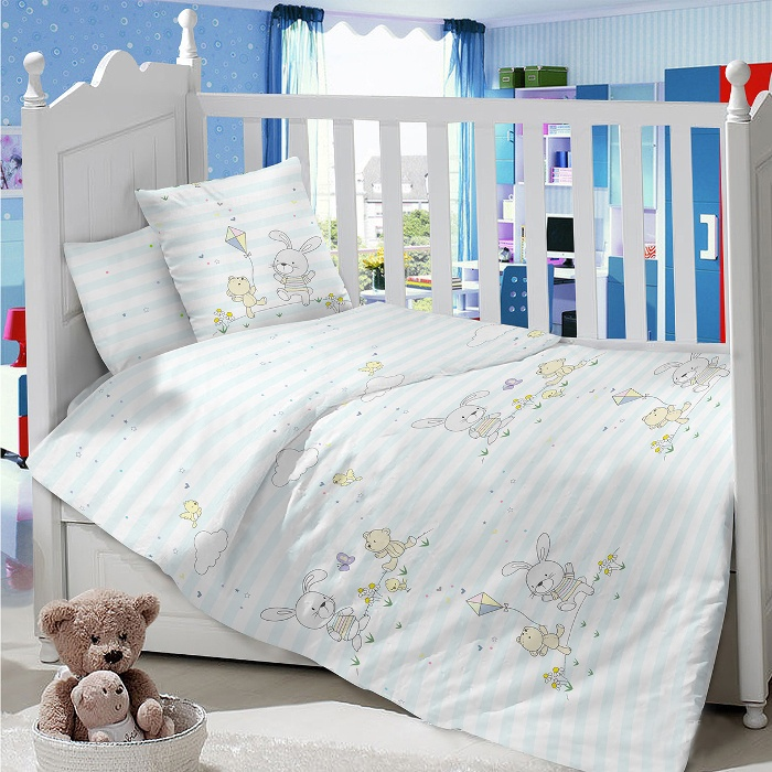 Комплект в кроватку LIMETIME Комплект в кроватку, простыня на резинке, LT1000-72, голубой