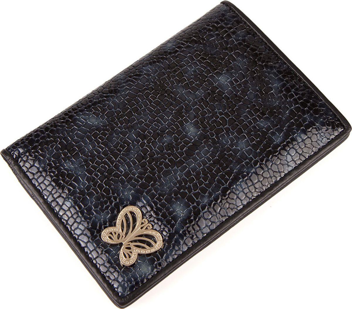 Обложка для документов женская Labbra, L053-0011 blue/black, синий, черный цена