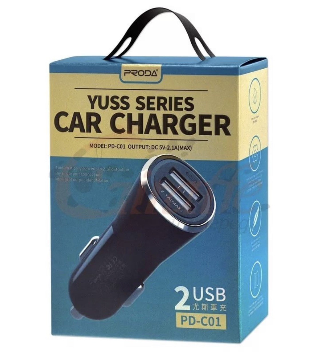 Автомобильное зарядное устройство PRODA Car charger yuss series PD-C01, YSC-2119, черный цена и фото
