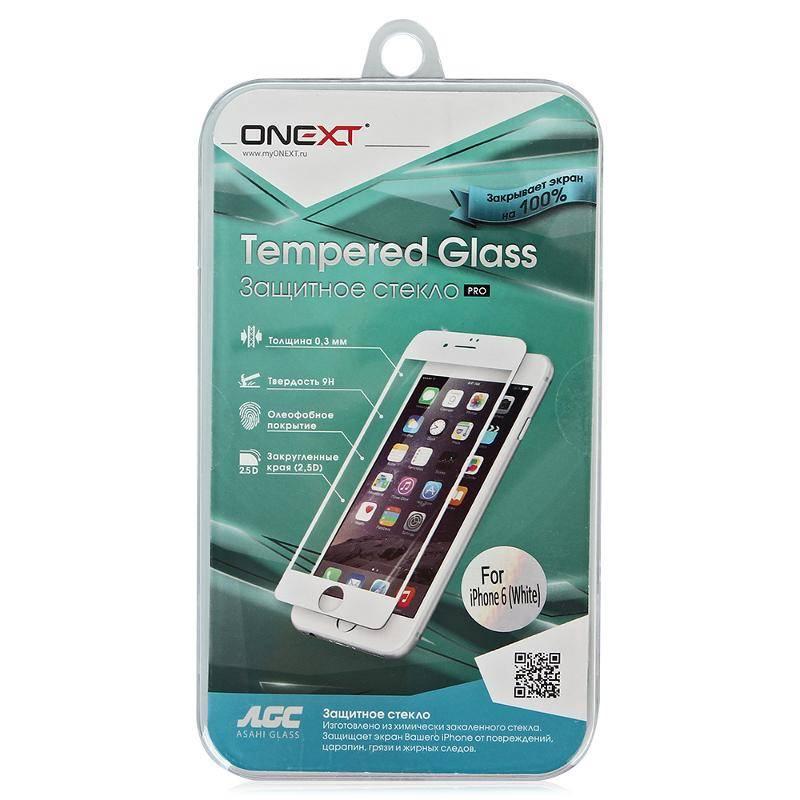Защитное стекло Onext Защитное стекло Onext для телефона Apple iPhone 6/6S с рамкой белое (full glue), 641-40934 стоимость