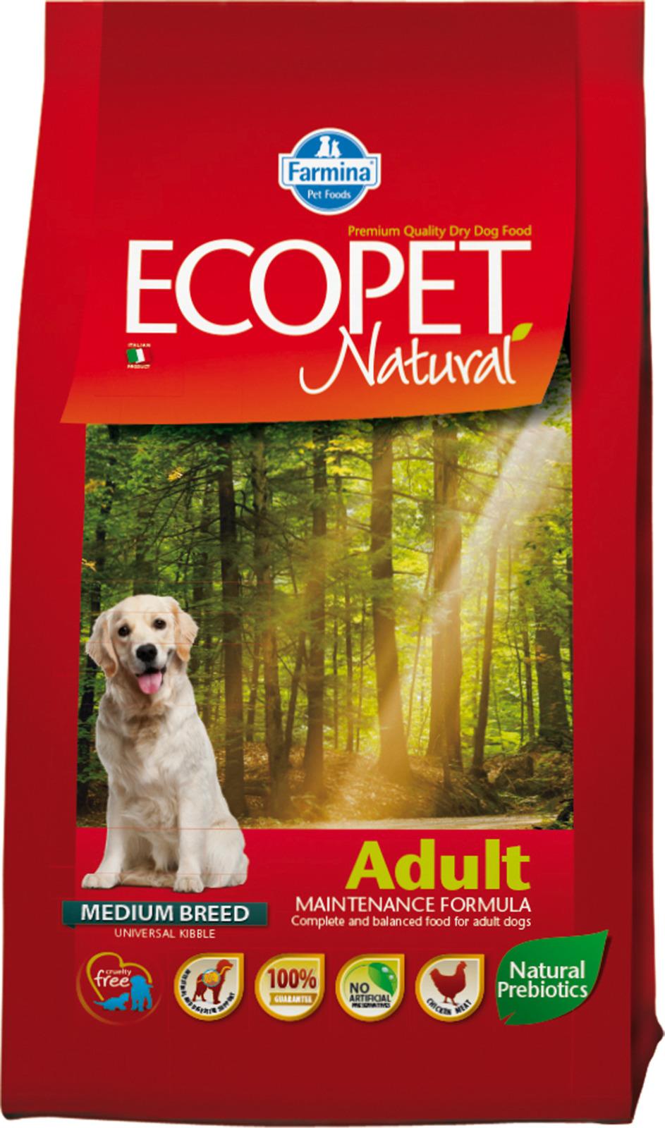 Корм сухой Farmina Ecopet Natural, для взрослых собак, с курицей, 12 кг